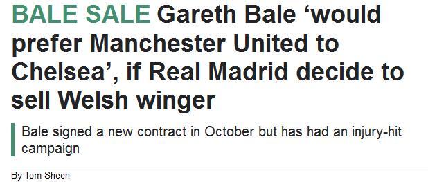 如果离开皇马,贝尔的第一选择是曼联