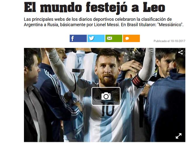 全球媒体跪拜梅西:看到了上帝!梅西就是世界杯