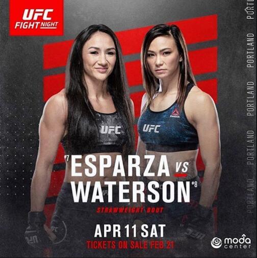 卡拉VS沃特森草量級對決將在UFC波特蘭賽中上演