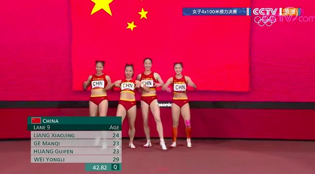 田径女子4×100米接力中国队第六 创历史最佳战绩