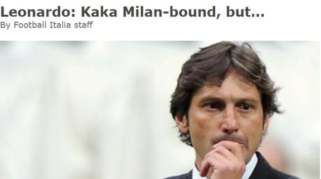 马队之后还有名宿!总监亲承卡卡将重回米兰