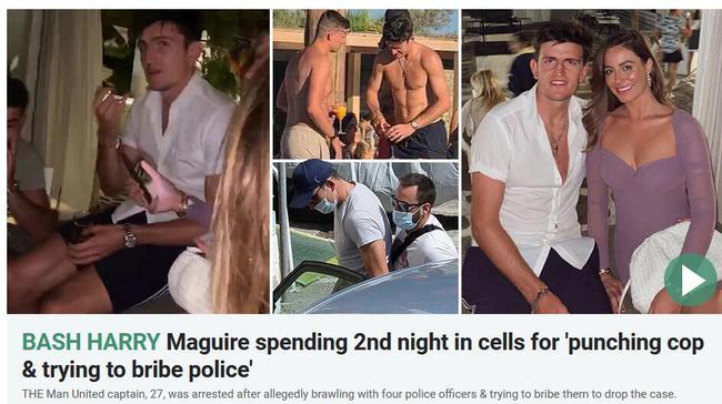 马奎尔被捕细节:遭曼城球迷挑衅 5个警察才制服他