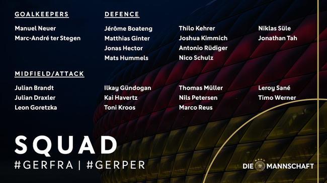 德国公布新一期国家队大名单 萨内回归赫迪拉落选