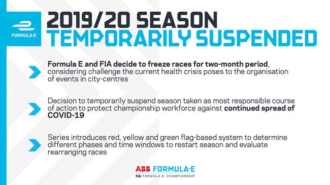官方声明:FE电动级方程式决定赛季修整
