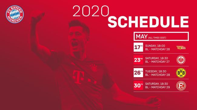 拜仁公布未來四戰比賽時間:5月27日凌晨客戰多特