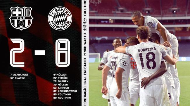 拜仁8-2狂扫巴萨