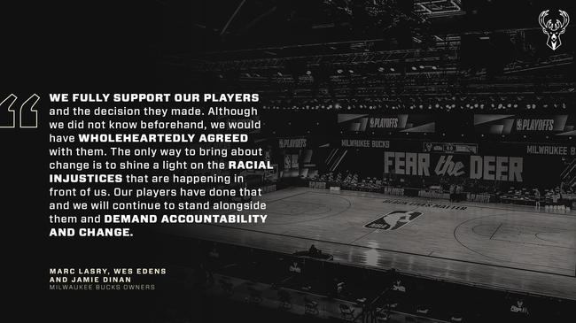 雄鹿发表罢赛声明:今天不应该再关注篮球