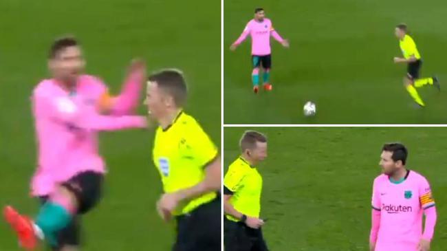 梅西不满判罚向裁判踢球泄愤 西媒:他应吃红牌