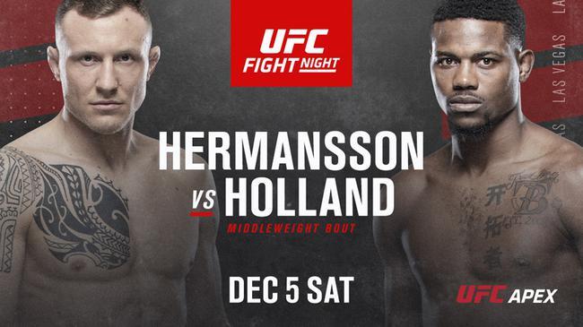 赫尔曼森VS霍兰德将领衔12月6日的UFC赛事