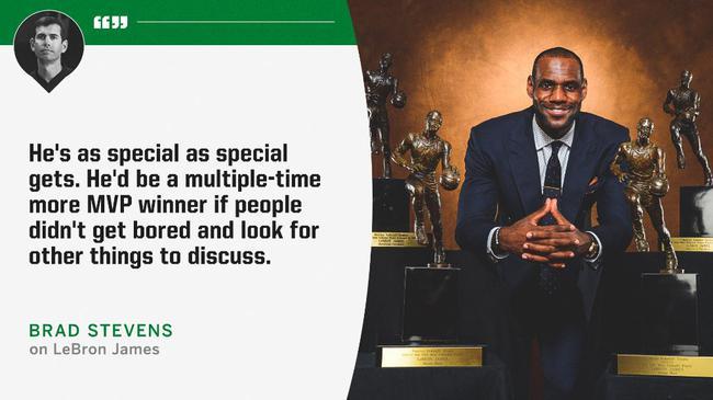波士顿凯尔特人队主帅布拉德-史蒂文斯在采访中表明勒布朗-詹姆斯本应该拥有更多的常规赛MVP奖杯