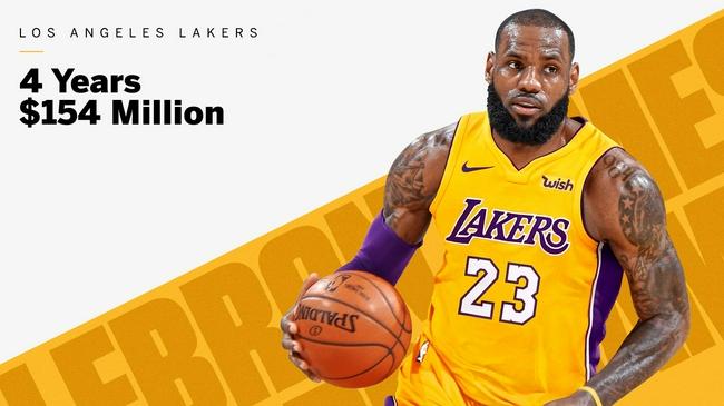 3年前的今天:詹姆斯4年1.54亿美元加盟湖人