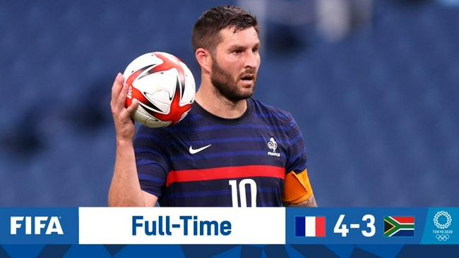 奥运男足-吉尼亚克帽子戏法 法国4-3绝杀南非