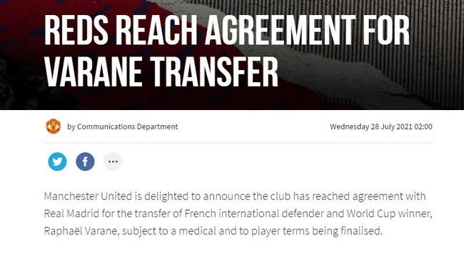 官方!曼联宣布签瓦拉内达协议 转会费4200万英镑