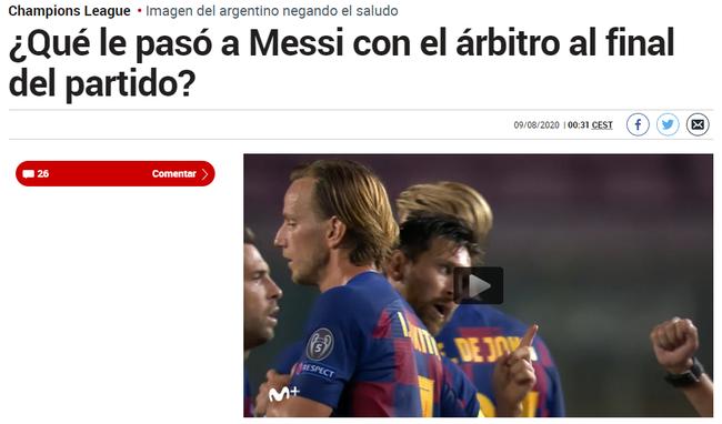 《马卡报》:梅西和裁判发生了什么?