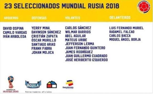 哥伦比亚世界杯名单曝光:J罗领衔 中超大将落选