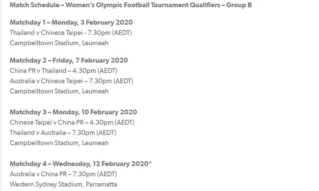 澳足協再調整女足奧預賽賽程