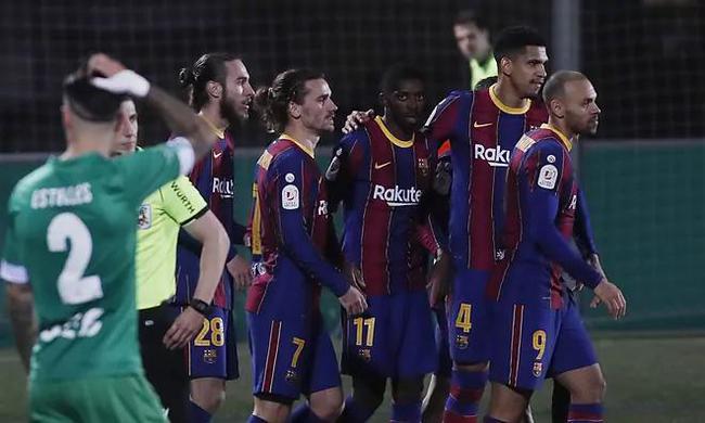 国王杯-登贝莱破门 巴萨两失点球加时赛2-0晋级