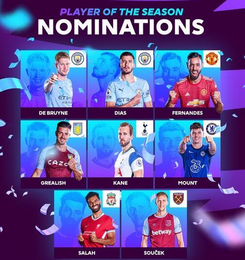 英超年度最佳公布8人候选:曼城双煞 曼联核心