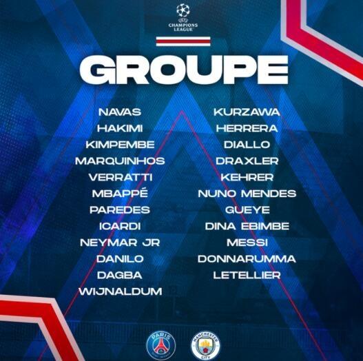大巴黎公布对阵曼城大名单:梅西内马尔入选