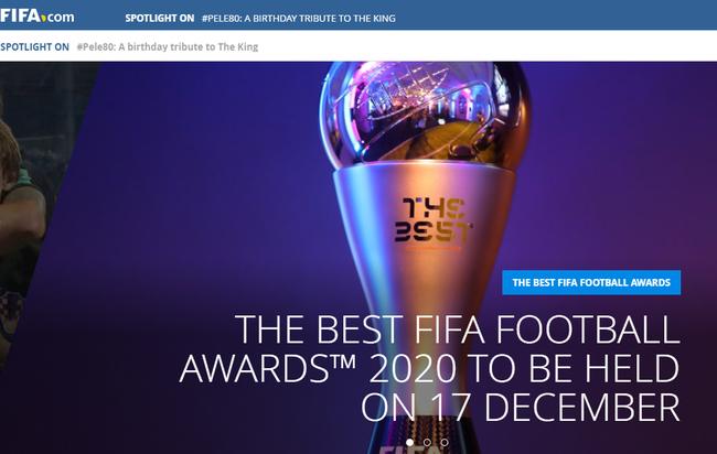FIFA宣布世界足球先生12月17日公布