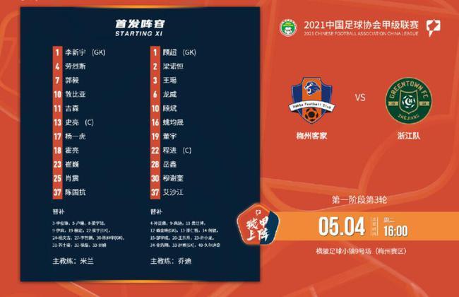 中甲:浙江1比0领先梅州 天气恶劣比赛延至明日