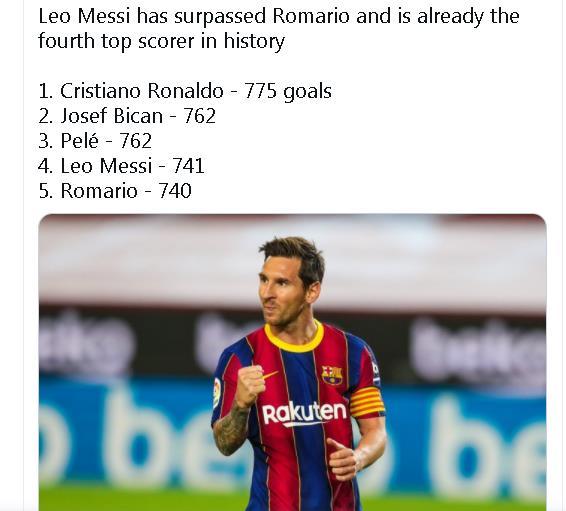 梅西生涯进球已达741个 排在国际足坛历史榜第四