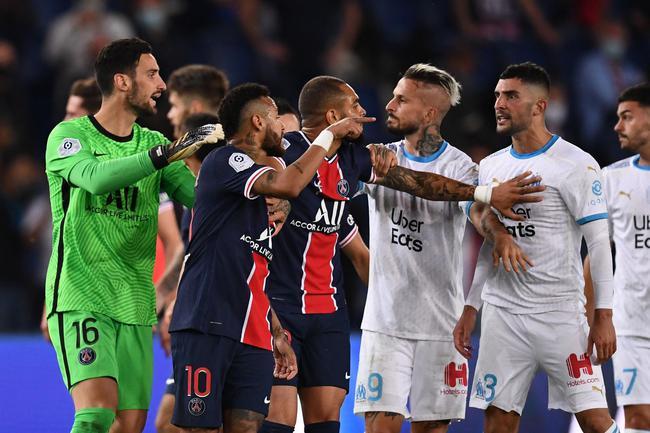 巴黎马赛火爆冲突!内马尔直红 双方5人被罚下|图