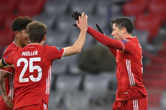 欧冠-莱万破门平劳尔 萨内进球 10人拜仁3-1晋级