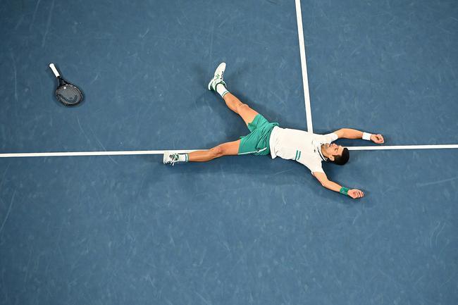 夺冠时刻!德约科维奇激动躺倒 还拍了拍这片福地