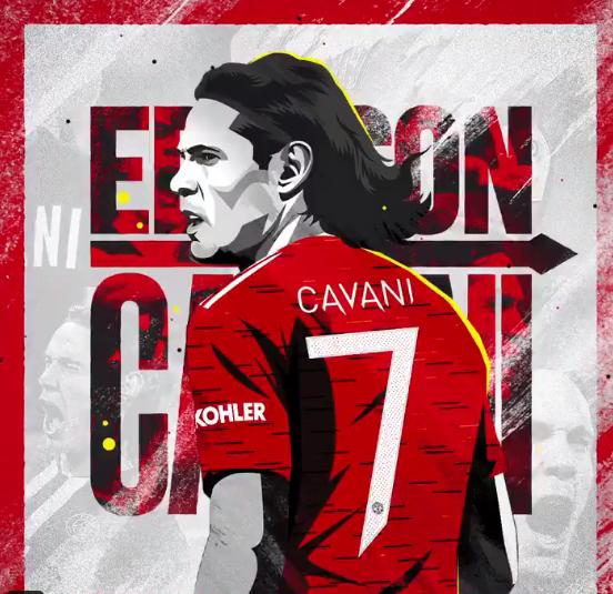 卡瓦尼将身披曼联7号球衣出战