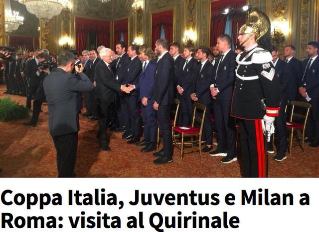 米兰尤文造访意大利总统府!李哥夫妇获接见