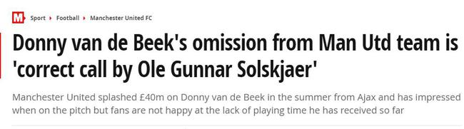 索尔斯克亚继续做出不受球迷欢迎的选择,主要是关于范德贝克