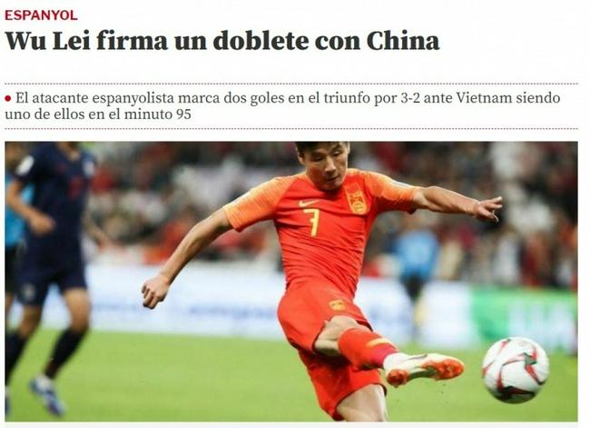 西班牙媒体评武磊表现:他成为了中国国家队的英雄!