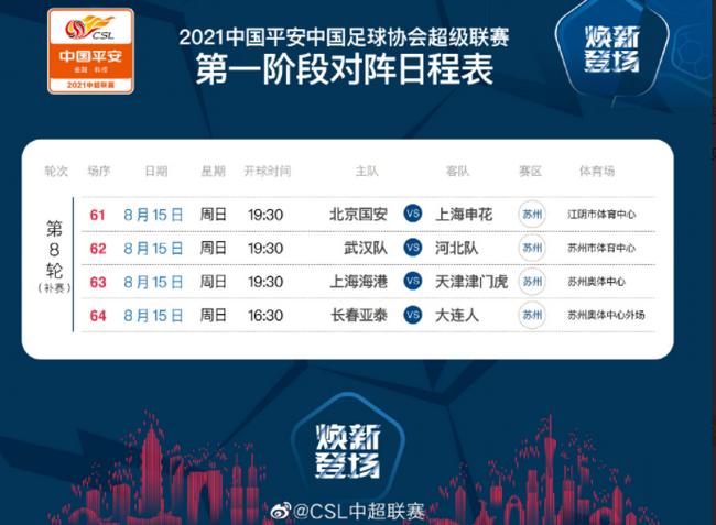 中超官方公布补赛安排:国安vs申花周五19:30打响