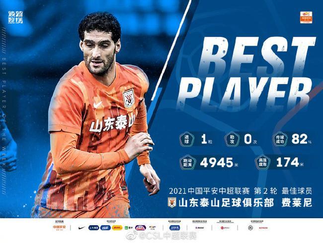 费莱尼当选中超第2轮最佳球员 头球读秒绝杀广州队
