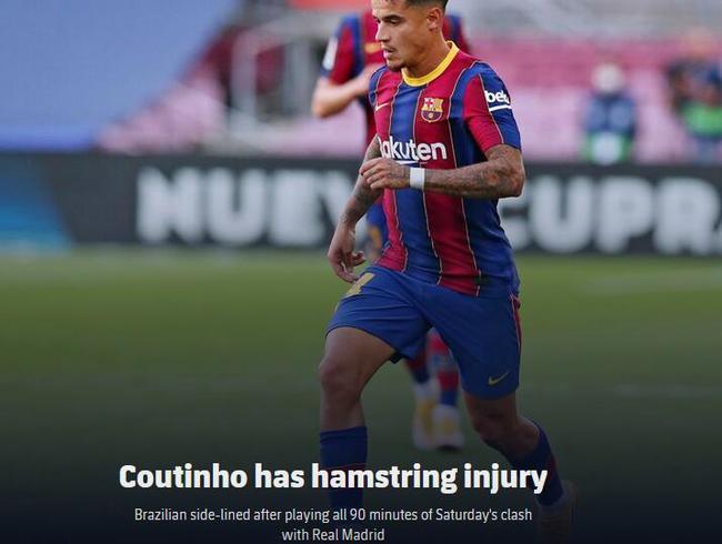 衰!巴萨官方宣布库蒂尼奥受伤 复出时间不确定