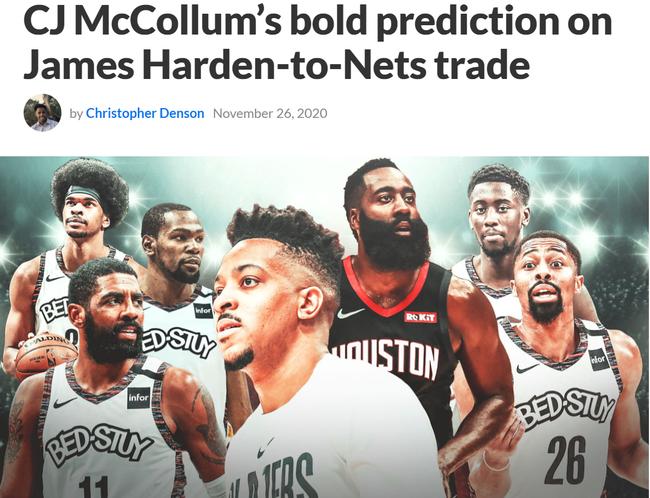 CJ-麦科勒姆认为火箭不会将哈登买卖到篮网