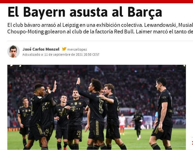 拜仁4比1大胜上赛季德甲亚军 西班牙媒体:拜仁吓尿巴萨!