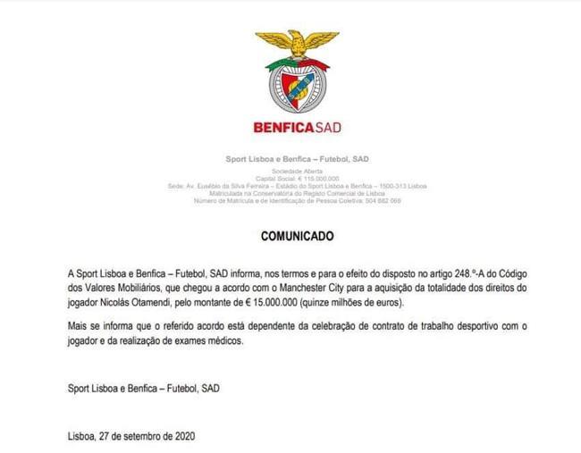 本菲卡公告宣布奥塔门迪加盟