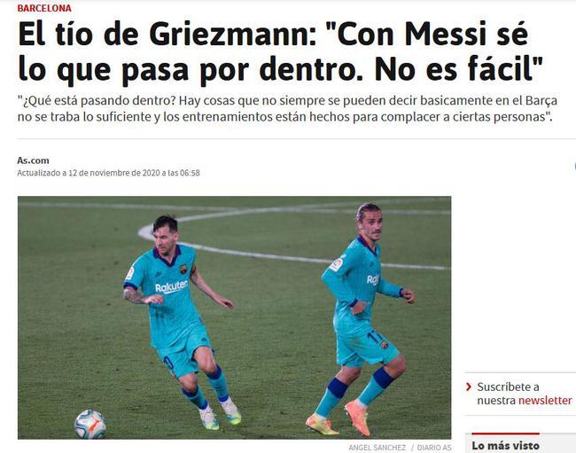 格列兹曼叔叔:巴萨训练不可 为巴结梅西下降强度