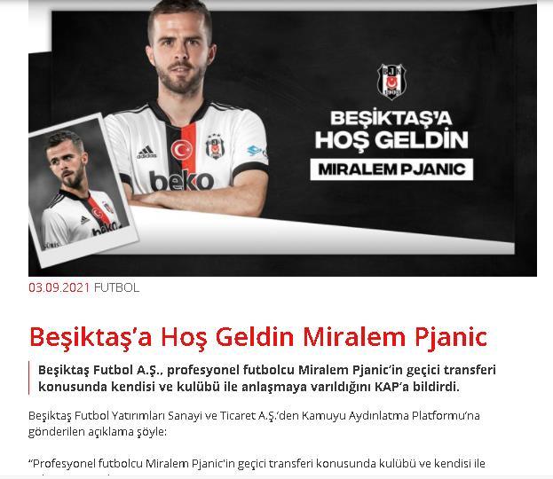 官宣!土耳其贝西克塔斯宣布引进巴萨中场皮亚尼奇!