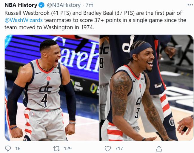 奇才搬到华盛顿之后第一对可以在单场比赛中双双看下37+分的组合
