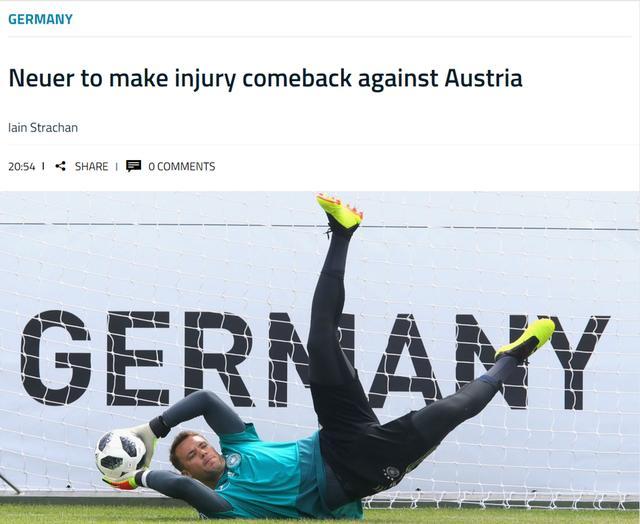 德国利好!核心王牌复出 确认世界杯前大战出场