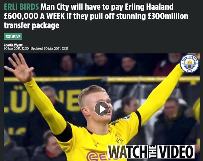 曼城若签哈兰德花费超3亿!1.5亿转会费+60万周薪
