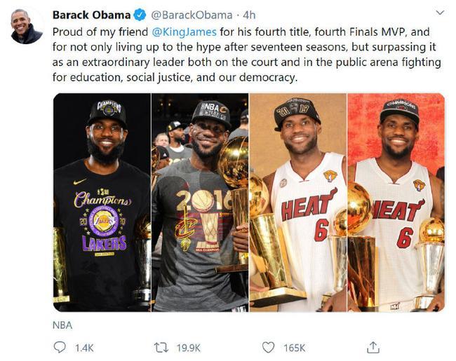 【博狗体育】奥巴马祝贺詹姆斯夺冠:场上场下都是伟大领袖