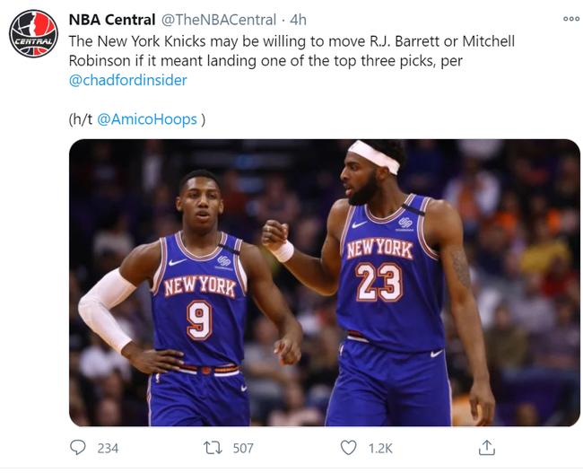 尼克斯有意向上买卖前三顺位 两新星或成筹码