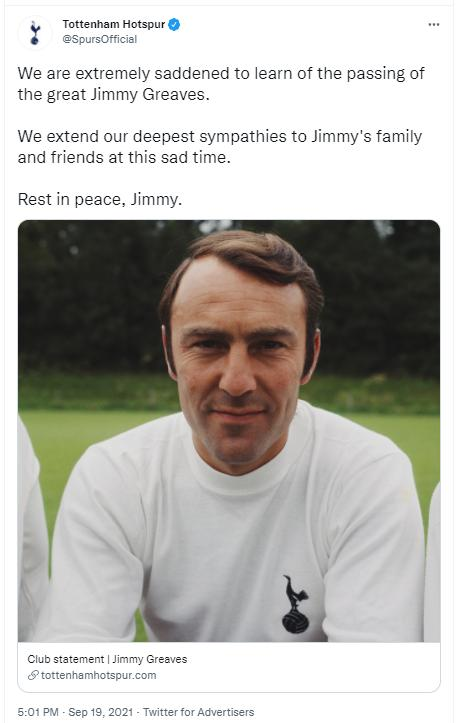 英格兰一代传奇去世  曾是梅罗之前五大联赛射手王
