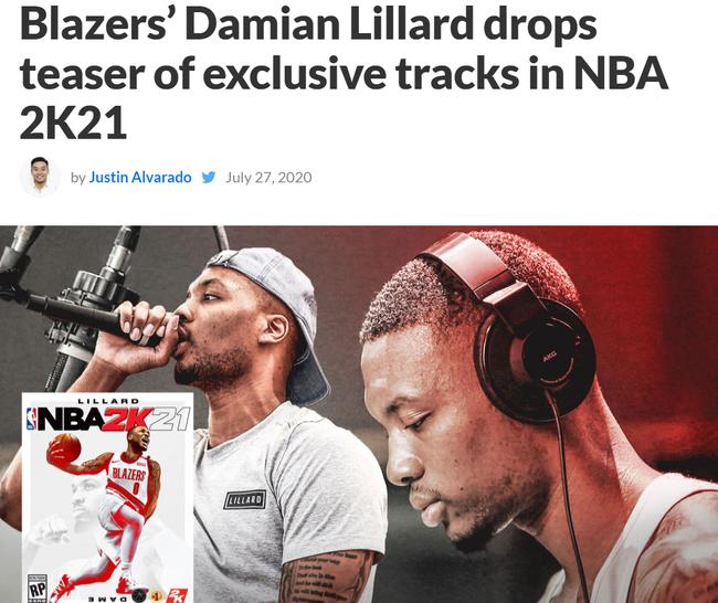 利拉德新歌成2K背景音乐! 说唱篮球跨界巨星
