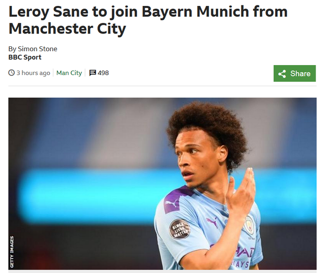 定了!拜仁签曼城悍将达协议 转会费5480万镑