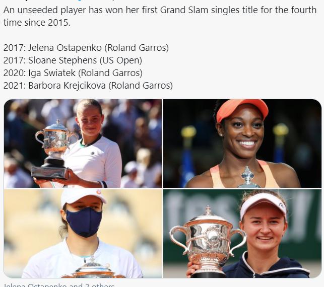 2021法网女单意外不断 连续两年非种子球员夺冠
